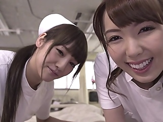 Yui Hatano with Rei Miziuna Threesome nurses big tits blowjob japanese